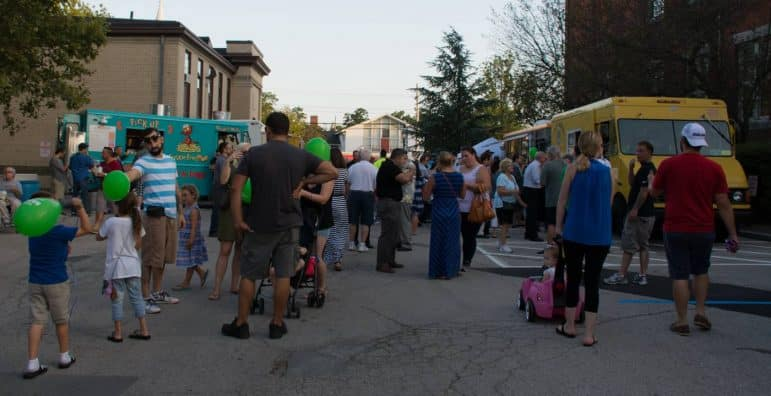 [CREDIT: Mary Carlos] Crowds returned for a second Food Truck night Thursday at City Hall.