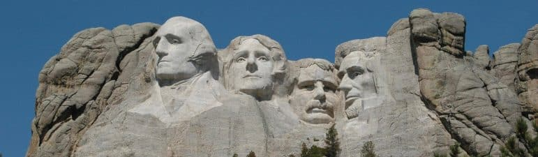 [CREDIT: National Parks Service] Mount Rushmore honors four American presidents. President's Day, officially, honors one.