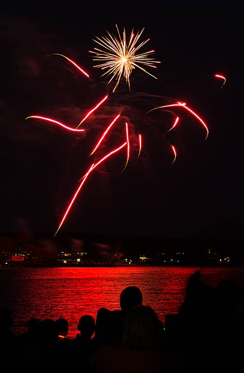 A burst of pyrotechnics zoom in multiple directions at Warwick City Park during Fourth of July Fireworks July 3, 2015.
