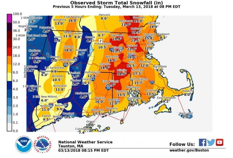 [CREDIT: NWS] The National Weather Service has announced snow totals for the region following Tuesday's storm.