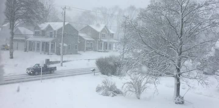 [CREDIT: Beth Hurd] Snow continued to fall in Warwick as of 5:30 p.m. Tuesday, pictured here in a photo of Warwick Neck Avenue.