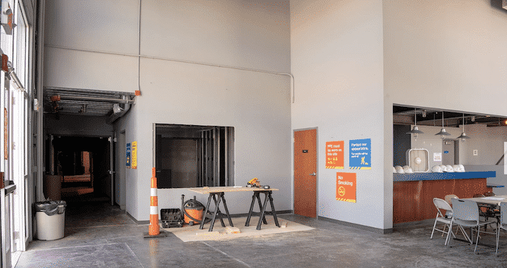 [CREDIT: Peter Goldberg] Construction under way in the lobby at 1245 Jefferson Blvd., soon the new home of The Gamm Theatre.
