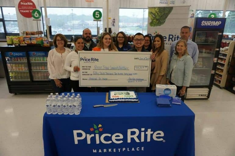 Pictured at Price Rite Marketplace of Warwick, from left to right: Cheryl Powers, Desiree Franki, Joe Amorim, Nicole DiPalma, Daryl Woolsey, Tou Yang, Karla Rosales, Estefania Botelho, William Devin and Lisa Roth-Blackman. The local store raised $17,000 for the RI Food Bank.