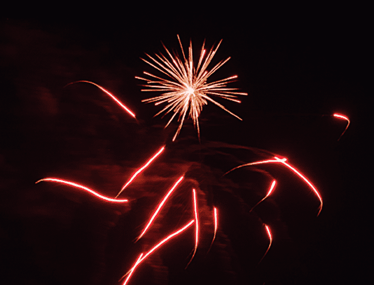 [CREDIT: Mary Carlos] A burst of pyrotechnics zoom in multiple directions at Warwick City Park during Fourth of July Fireworks July 3, 2015.