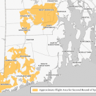 [CREDIT: DEM] A map of the areas of RI to be covered by a second round of aerial pesticide to control EEE-bearing mosquitoes.