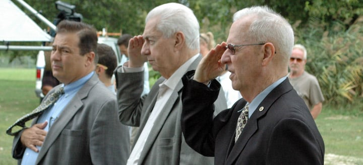 [CREDIT: Rob Borkowski] From left, Rep. Joseph Shekarchi (D-Dist. 23),former councilman Joseph Gallucci, and retired Warwick Police Chief Stephen McCartney during Wednesday's Sept. 11 memorial ceremony.