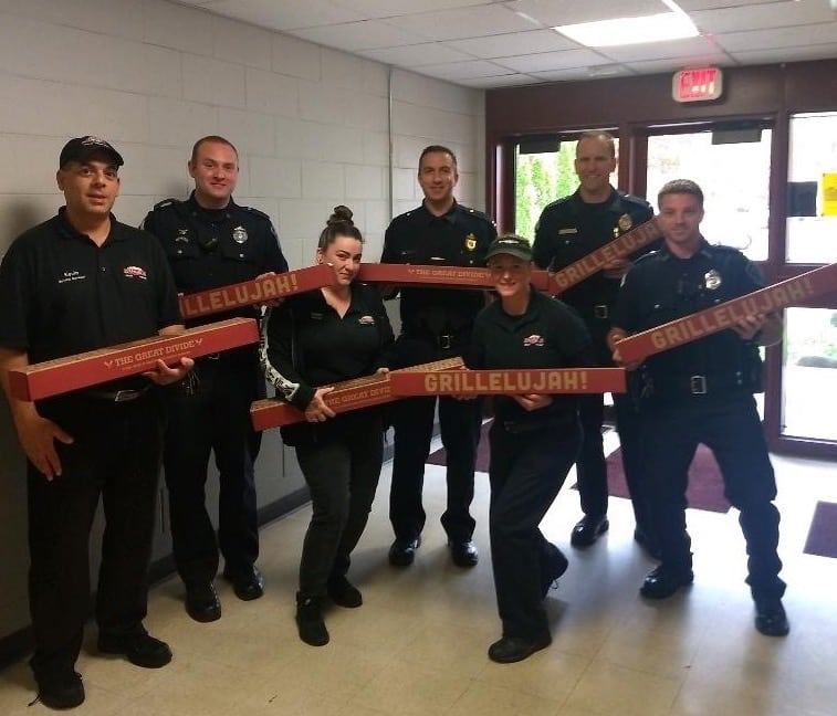 [CREDIT: D'Angelo] D'Angelo sandwich shops gifted several free sandwiches to Police departments throughout New England Oct. 29, including the Warwick Police Department.