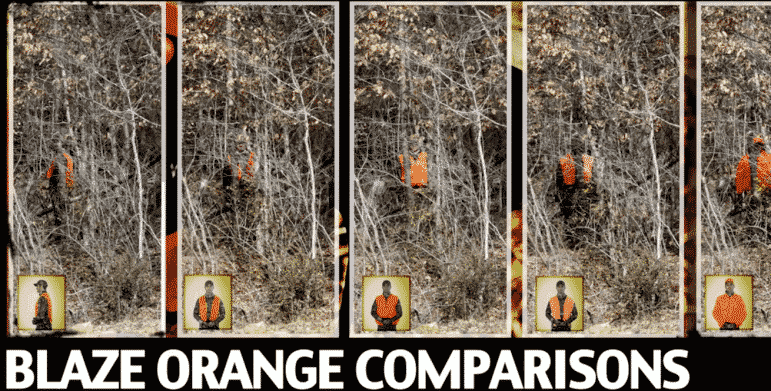 [CREDIT:Mass.gov} A Mass.gov comparison of the effectiveness of various combinations of flourescent, or blaze, orange in the wild. RI and MA law requires wearing orange during shotgun deer hunting season and other hunting seasons.