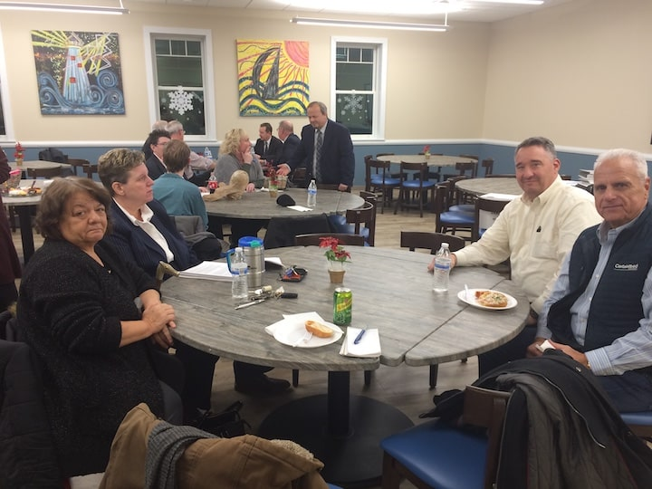 [CREDIT: Rob Borkowski] From left, Councilwoman Donna Travis, School Committee Chair Karen Bachus, Councilman Timothy Howe and Councilman Ed Ladouceur at the Tides Cafe at the WACTC Wednesday night.