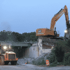 [CREDIT: RIDOT] The Rte. 95 bridge over Toll Gate Road was demolished Monday night. The $25.3 million Rte. 95 Toll Gate & Centerville Road bridges replacement project will wrap up early next week.