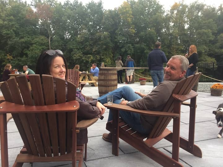 [CREDIT: Rob Borkowski] Bill Provencal and Bridget Dessaint, both of Warwick, enjoyed Apponaug Brewing Co.'s beer garden Oct. 6, 2018. The brewery's owner supports take-out alcohol, but opening for sit-down customers outside has made a difference for them, they report.