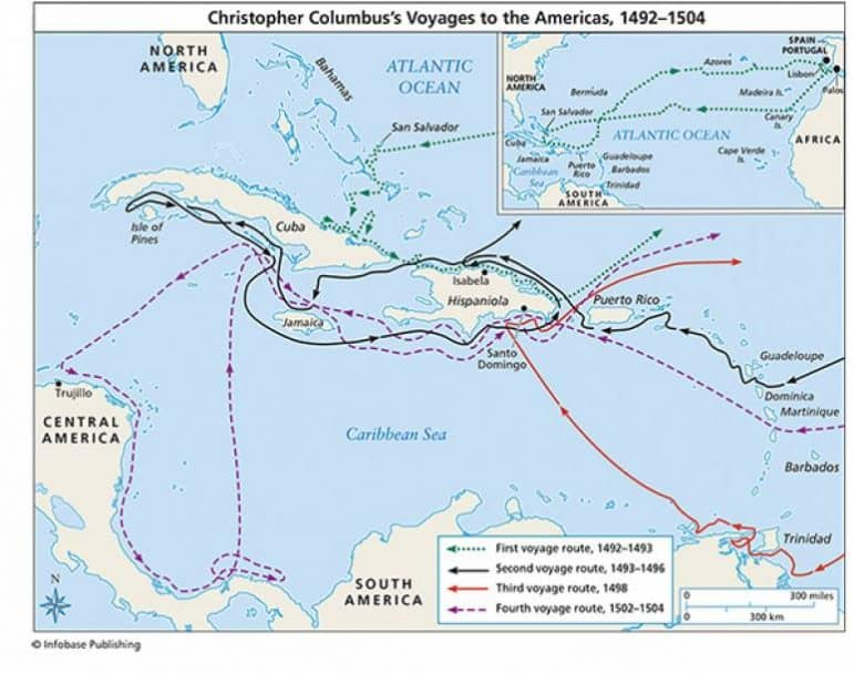 [CREDIT: U.S. Department of the Interior] A poster showing the voyages of Christopher Columbus from 1492-1504. Many states have replaced Columbus Day with Indigenous People's Day.
